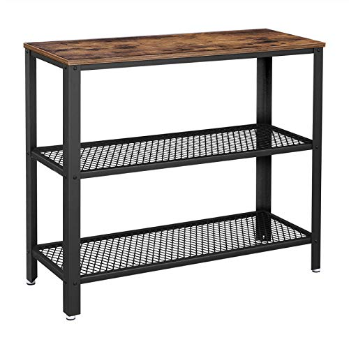 (VASAGLE Industrial Console Table, Hallway Table with 2 Mesh Shelves, Side Table and Sideboard, Living Room, Corridor, Narrow, Iron, Rustic Brown ULNT81BX)