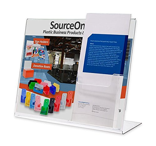 Source One Premium Landscape 11 x 8.5 Slant Back Sign Holder with TriFold Brochure Holder (S1-LandW-Tri)