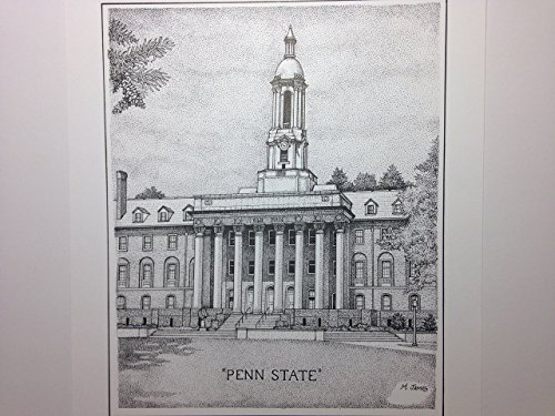 Penn State - ''Old Main'' 8''x10'' pen and ink print by Campus Scenes