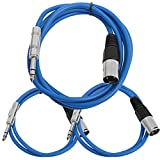 Seismic Audio - SATRXL-M3C-Blue - 3 Pack of Blue XLR Male to 1/4 Inch TRS Patch Cables- XLR to TRS Cable Kit - One 6 ft One 3 Ft, One 2 ft XLR-M to 1/4'' Patch Cords