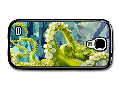 Green Octopus In A Geometric Pattern Illustrated Background Hipster Style coque pour Samsung Galaxy S4 mini