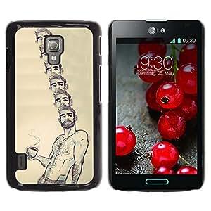 GOODTHINGS Funda Imagen Diseño Carcasa Tapa Trasera Negro Cover Skin Case para LG Optimus L7 II P710 / L7X P714 - café Retrato de hombre sin camisa barba caliente