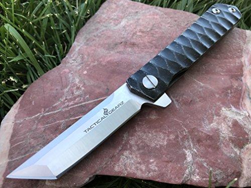 (TacticalGearz Black Titanium Stainless Steel Folding Knife w/Sheath! Ball Bearing System, Polished D2 Steel Tonto Blade! (Tanto Blade))