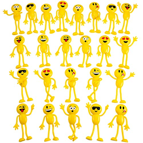 Kicko Emoticon Figure Bendable Toys - 24 Pack 4.5