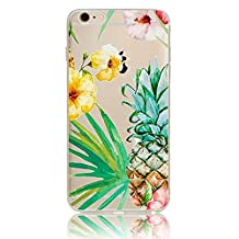 Bonice iPhone 5/5S/SE Soft TPU Case,Premium Ultra Thin Slim Exact Fit Silicone Rubber Clear Transparent Back Cover Art Creative Design Scratch-Resistant Non-slip Protective Skin - Flower and Pineapple