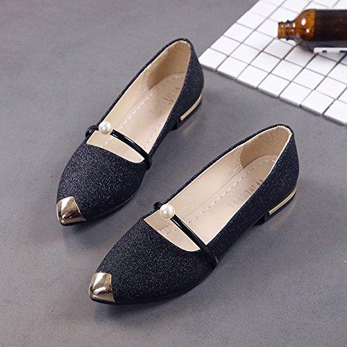 Noir Bas Casual Chaussures Escarpins Plates Talon Toe Mocassins Femmes Pointu Mary Janes espadrilles Bq8nwAf7