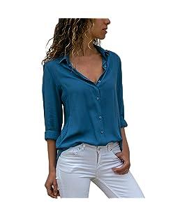 Firally - Camisas - Liso - Redondo - Manga Larga - para Mujer Turquesa L