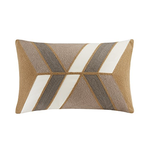 Ink Ivy II30-759 Aero Embroidered Abstract Decorative Pillow 12×20 Natural, 12 x 20,