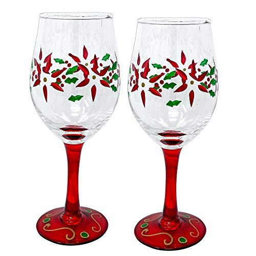 Holiday Poinsettia Wine Glasses - Set of 2 Standard Wine Glasses - Red Hand-Painted Poinsettia and Green Holly Design- Christmas Wine Glass- 14 -