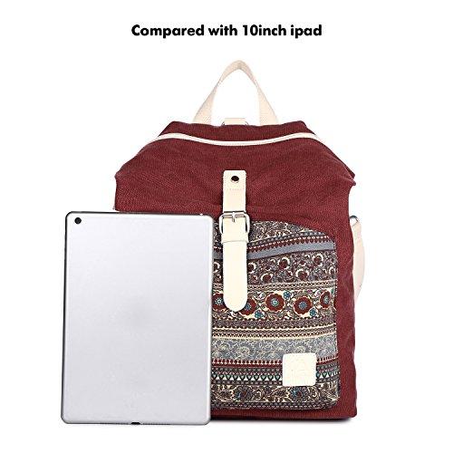 Bag Maroon Rucksack ArcEnCiel Shoulder Backpack Purse Canvas Women Girl wzfqHT