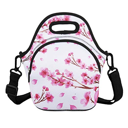 - Violet Mist Unicorn Neoprene Insulated Lunch Bag Tote Large with Extra Pocket Waterproof Detachable Adjustable Shoulder Lunchbox Handbags (Pink Cherry Blossoms)
