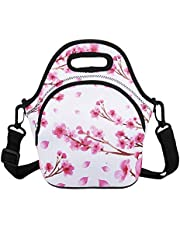 Violet Mist Unicorn Neoprene Insulated Lunch Bag Tote Large with Extra Pocket Waterproof Detachable Adjustable Shoulder Lunchbox Handbags (Pink Cherry Blossoms)