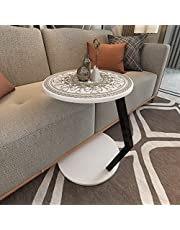 Modern Side Table Round C Shaped End Table | Sofa, Laptop Table, Wood, Metal Nightstand, Bedside Table Small Coffee, Snack, Accent Table for Living Room, Bedroom, Office