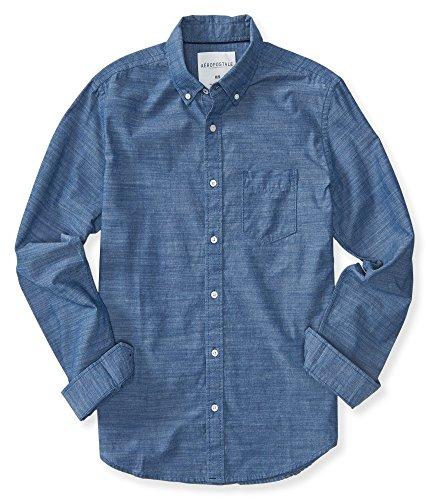 Aeropostale Men's Long Sleeve Textured Oxford Woven Shirt Xs Luna