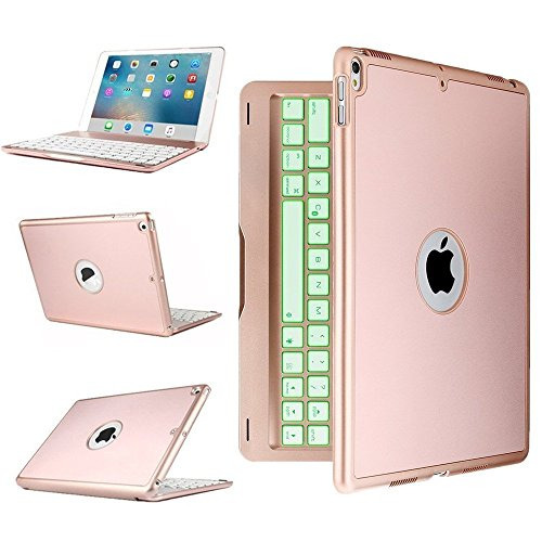 Price comparison product image MIYA LTD 7 Color Folio Backlit Light iPad Keyboard Case for iPad 6th Gereration with Multi Function Cover Colorful Bluetooth Keyboard Case for Apple 2017&2018 iPad 9.7 - Rose Gold