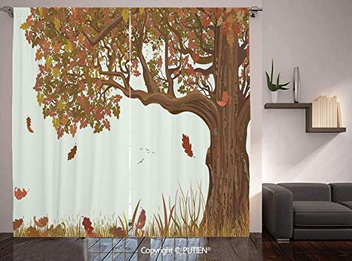 Thermal Insulated Blackout Window Curtain [ Tree of Life,Autumn Season Fall Shady Deciduous Oak Leaves in Park Countryside Artwork,Umber Redwood ] for Living Room Bedroom Dorm Room Classroom Kitchen C -