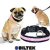 Biltek Pink LED Light Dog Collar - X-Large - Dog Pet Night Safety Fashionable Flashing Light Up Collar Nylon Large Adjustable