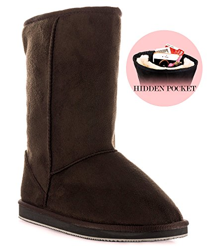 Mid Calf Brown Winter Shoes (RF ROOM OF FASHION Room Of Fashion Winter Pull-On Mid Calf Boots - Comfort Shearling Fur Lined Vegan Suede Anti-Slip Rubber Sole - Exclusive Cell Phone Pocket Booties (Chocolate Suede Size 7))