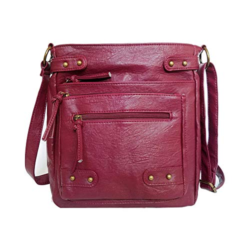 Soft Washed PU Leather Crossbody Purse Multi Pocket Vertical Bag Shoulder Satchel for Women ()