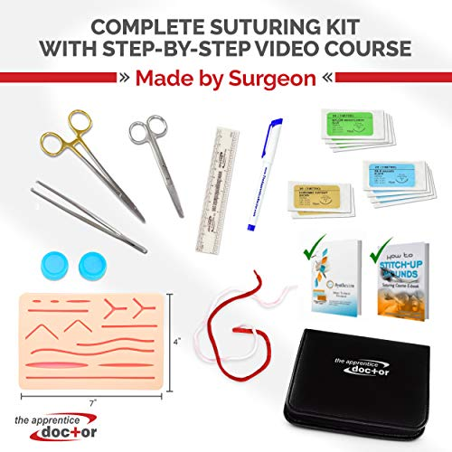 Suture Practice Kit with Detailed Online How-to Suture Wounds Course Created by a Surgical Specialist for Anyone New to Suturing Wounds - Durable Mesh-Layer Suture Skin Pad Included
