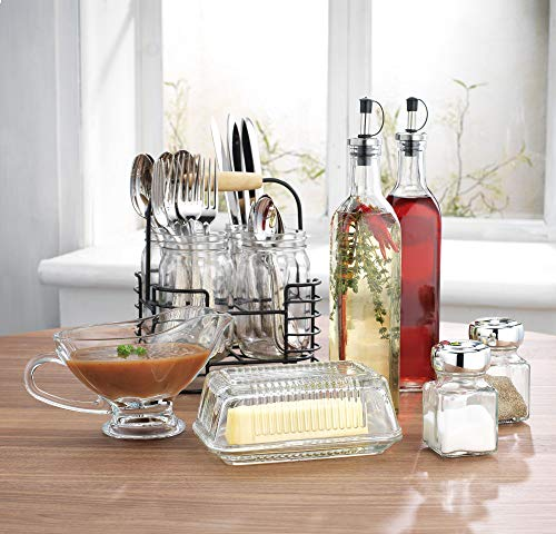 Home Essentials Invite 12 Piece Hostess Kitchen Set includes Utensil Caddy, Gravy Boat, Butter Dish, Salt & Pepper and Oil & Vinegar Set (Gravy Set)