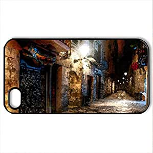 Barcelona, Old Town - Case Cover for iPhone 4 and 4s (Ancient Series, Watercolor style, Black)
