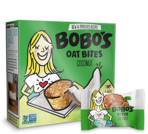 Bobos Oat Bites (Coconut, 30 Pack Box of 1.3 oz Bites) Gluten Free Whole Grain Rolled Oat Snack- Great Tasting Vegan On-The-Go Snack, Made in the USA