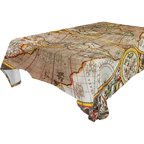 Rectangular Antique World Map Artwork Tablecloth Table Cloth Cover for Home Decor Dinner Kitchen Party Picnic Wedding Halloween Christmas 54 x 72 inches
