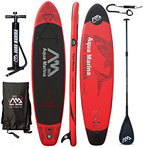 Aqua Marina MONSTER Inflatable Stand-up Paddle Board for Yoga, Recreation and Fitness Red with 2 Person Capacity by by Aqua Marina