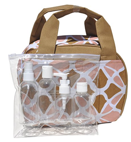 Tan Travel Large Makeup Toiletries Cosmetic Bag Kit Case Organizer with 4 Pack Travel Size Bottle Gift Set Idea for Teen Girls Women Mom (Style5) (Tan Pie Plate)