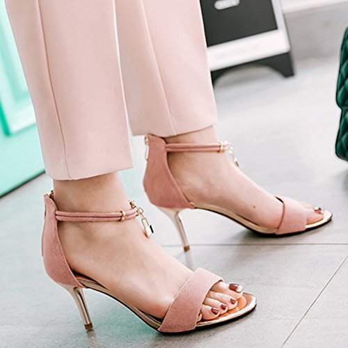 JITIAN Chaussures Talons Hauts Aiguilles Sandale Bride Cheville Sangle Bout Pointu Femmes Chaussure Rose 37 R68SY5VxUU