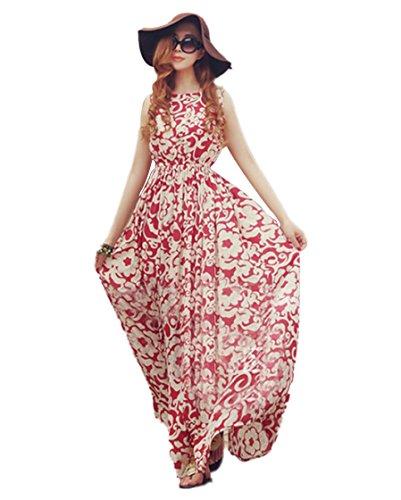Teamyy Vestido Largo de Gasa Mujer Casual Moda Boho Floral Sin Mangas Fiesta Playa Rojo