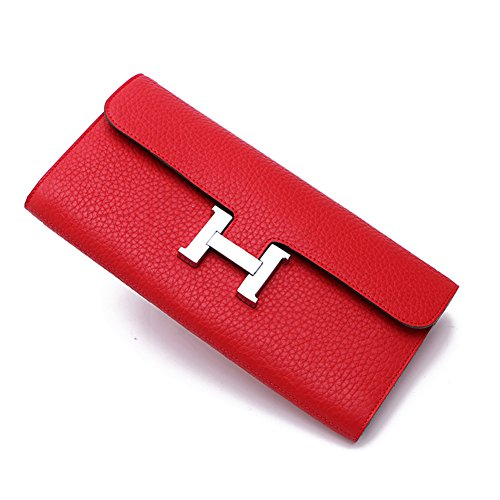 Women Wallet Brand Design Genuine Leather Red Color - 8