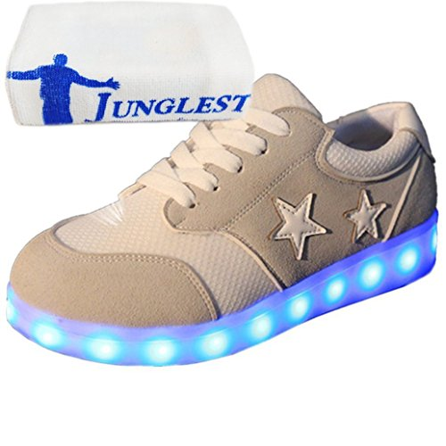 (Present:small towel)JUNGLEST LI & HI colorful star LED Light USB Charging adult pairs of shoes autumn and winter sports shoes casual shoes luminous current U Grey