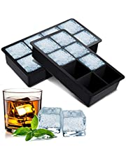 BROTOU 2 Pack Ice Cube Trays, Food Grade Silicone Ice Cube Tray 2 Inch Square Ice Cube Mould for Whiskey, Cocktails & Wine