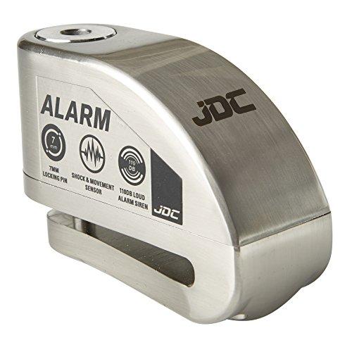 JDC Motorrad Bremsscheibenschloss ALARM - JAWS - Gebürstetes Metall