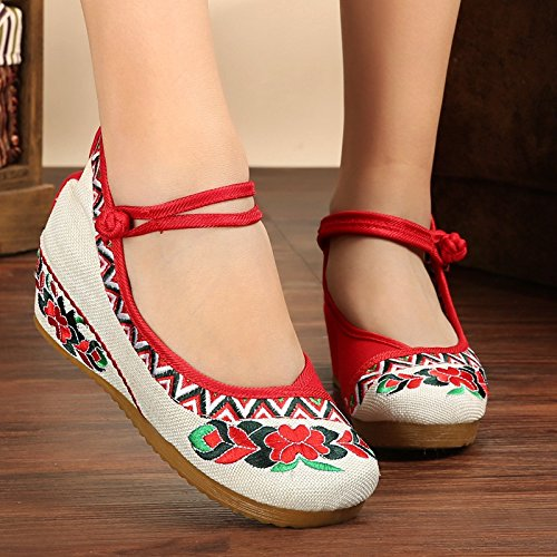 increase Internal Shoes Women Embroidery Red Bottom wedge Thick 6qRwUA