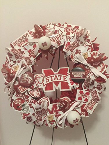 COLLEGE PRIDE - MSU -MISSISSIPPI STATE UNIVERSITY - BULLDOGS - DAWGS - DORM DECOR - DORM ROOM - COLLECTOR WREATH - MAROON DAHLIAS AND CHRYSANTHEMUMS by Peters Partners Design (Image #2)