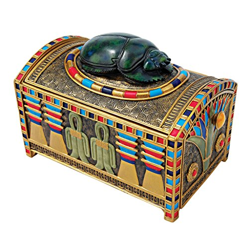Design Toscano Egyptian Décor Trinket Box - Royal Egyptian Scarab Jewelry Box - Egyptian Statues ()