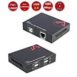 AV Access USB Extender 165ft over Cat5e/6,with 4 USB2.0 ports,Plug and Play,No Driver,Supports All Operating System,Two Web Cameras Work Synchronously