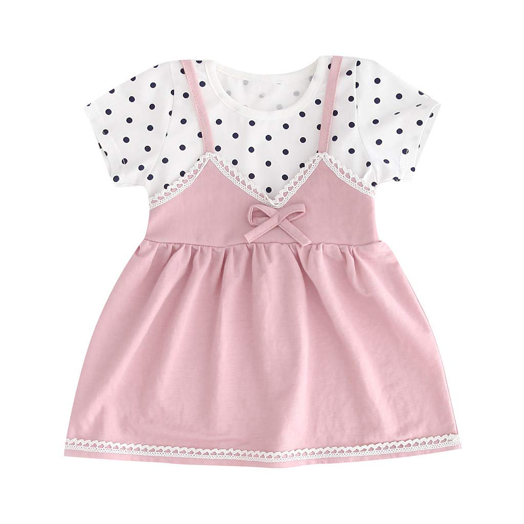 Infant Summer Dress,Toddler Kid Baby Girl Sleeveless Printed Bow Party Princess Dress Clothing,Girls' Costume Accessories,White,18-26M