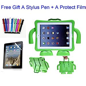 Yikebo(TM) Pink Kid'S Light Weight Shock Proof Handle Case For Ipad 2 3 4 Generation+Built In Stand And Carring Handles+Screen Protector & Matching Stylus Pen (Green)