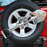 Nicebee Silver Universal Stainless Steel Spare Tyre Shovel With Lockable Holder for Jeep Wrangler Compass Renegade Offroad SUV 4WD