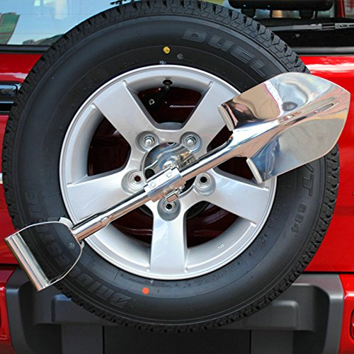 Nicebee Silver Universal Stainless Steel Spare Tyre Shovel With Lockable Holder for Jeep Wrangler Compass Renegade Offroad SUV 4WD by Nicebee