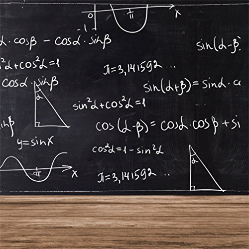 CSFOTO 5x5ft Background for Math Formulas on Chalkboard Photography Backdrop Back to School Physics Education Science Classroom Homework Teaching Black Board Photo Studio Props Polyester Wallpaper -