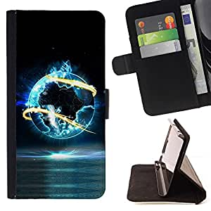 DEVIL CASE - FOR Samsung Galaxy S4 IV I9500 - cool abstract world planet fire glow - Style PU Leather Case Wallet Flip Stand Flap Closure Cover