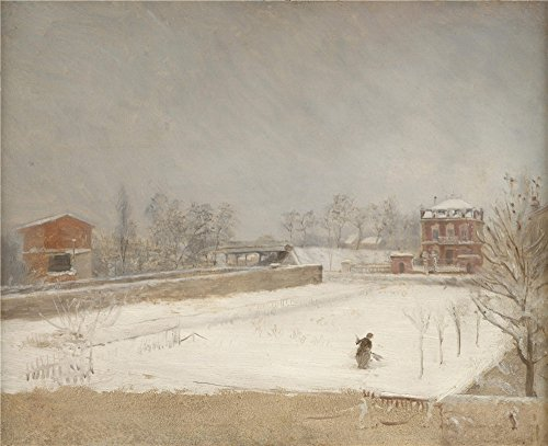 high quality polyster Canvas ,the Vivid Art Decorative Prints on Canvas of oil painting 'Giuseppe De Nittis Winter Landscape ', 12 x 15 inch / 30 x 37 cm is best for Foyer artwork and Home gallery art and Gifts