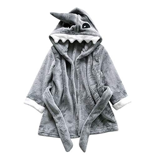 Shark Robe - Kids Sleep Robe Girls Boys Bathrobes Baby Toddler Hooded Robe Sleepwear Pajamas (Gray Shark, 3T)