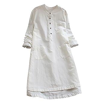 2e4257989c Moonuy Femmes Retro manches longues Casual Loose Button Tops Blouse Mini chemise  V-Neck Blouse