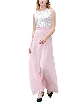 Yonglan Mujer Encaje Vestido Largo Cuello Redondo Sin Mangas Gala Fiesta Playa Maxi Vestidos Pink S